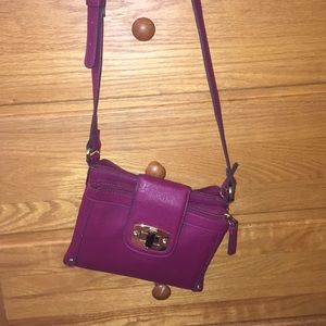 Maroon slim cross body purse